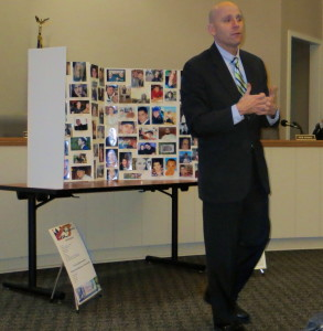 Chester County District Attorney Tom Hogan addresses a meeting in New Garden Township hosted by Kacie's Cause, an advocacy group committed to ending the scourge of heroin in the county.