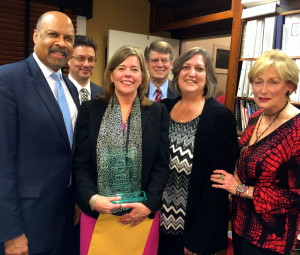 Elizabeth B. Pitts (third from left) is joined by County Commissioner Terence Farrell (from left), CVC Board President Jose Reyes, CVC Board Member Joseph W. Carroll, County Commissioner Kathi Cozzone, and CVC Executive Director Peggy Gusz.