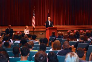 U.S. Senator Bob Casey visited Coatesville Intermediate High School Tuesday to speak to students about bullying.