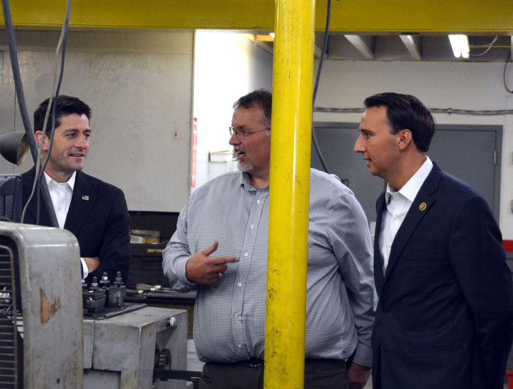 Scott Johnson, President of J-Tech, tells Speaker of the U.S. House of Representatives Paul Ryan (left) about how hard U.S. Rep. Ryan Costello (right) has worked for local constituents.