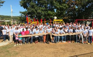 More than 200 volunteers built the new playground at Patton Park in six hours.