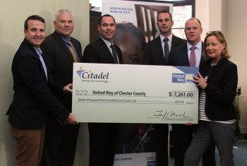 Citadel Presents check to United Way of Chester County: Toren Peterson of United Way, Kevin McDermott, David Layo, AJ Hiller, and John Kane of Citadel, and Claudia Hellebush of United Way.