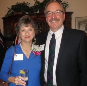 Rebecca Lukens award-winner Molly K. Morrison celebrates her honor with her husband, Bob Morrison, at the Graystone Mansion in Coatesville.