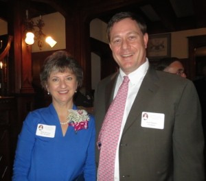 Molly K. Morrison, recipient of the Rebecca Lukens Award, is shown with Scott G. Huston, a direct descendant of the trail-blazing industrialist.
