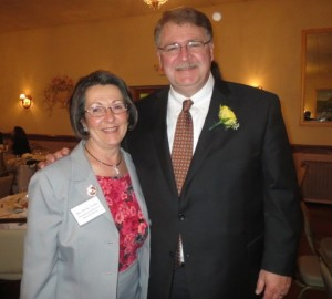 State Rep. Becky Corbin poses with Hall of Fame honoree Curt Schroder.
