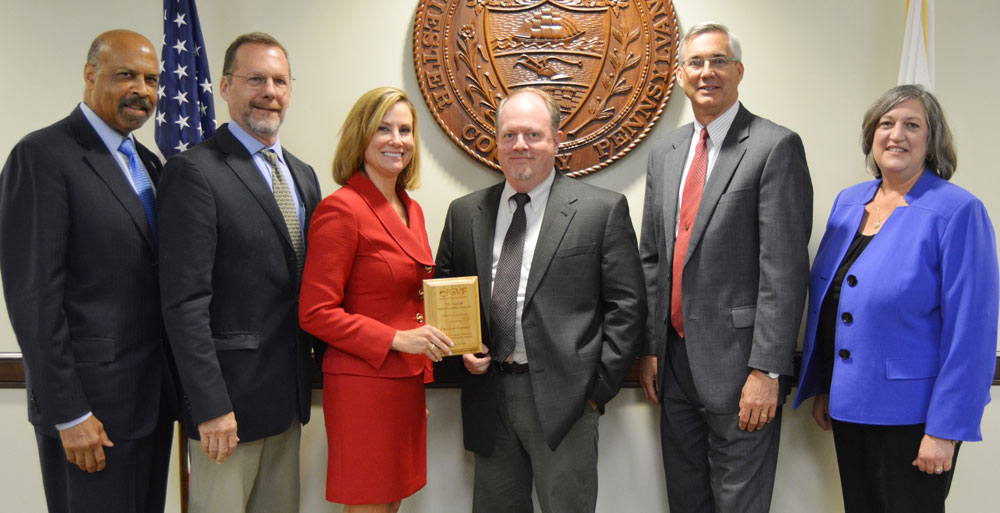 (From left to right) Chester County Commissioners' Chair Terence Farrell; Planning Commission Assistant Director David Ward; Commissioner Michelle Kichline; Brian Styche, Planning Commission Transportation Planner; Brian O'Leary, Director, Chester County Planning Commission; and Commissioner Kathi Cozzone.