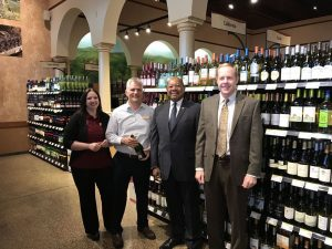 (L-R) Wegmans wine manager Michelle Nick, store manager Kurt Husebo and PA State Reps. Harry Lewis (R-74) and Duane Milne (R-167) were on hand to celebrate Wegmans wine shop opening Friday.