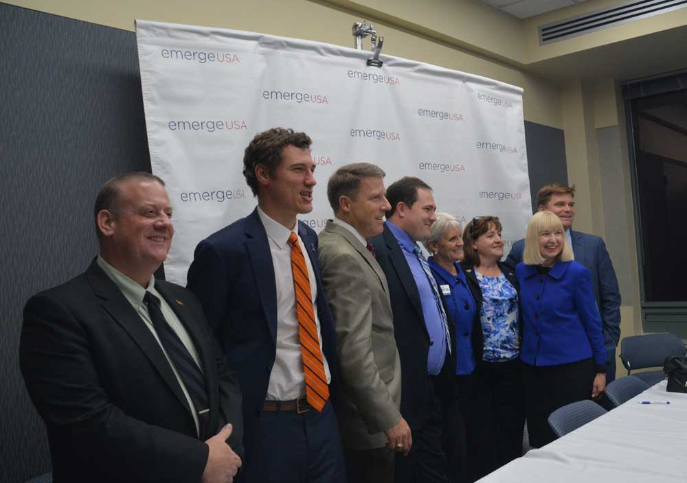 From left, State Rep. Dan Truitt (R-156), Downingtown Mayor Josh Maxwell, Congressional Candidate Mike Parrish, state house candidate Hans Von Mol, West Chester Mayor Carolyn Comitta, State House candidate Susan Rzucidlo, Congressional candidate Mary Ellen Balchunis and state Senate Candidate Marty Malloy at Thursday night's EmergeUSA forum. Janet McGann photo.