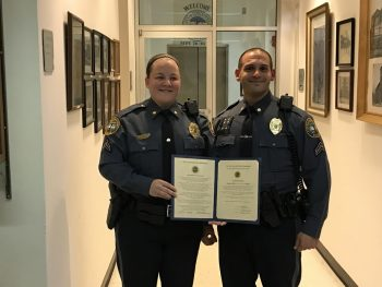 Detective Shannon Miller and Officer Paul Antonucci were each promoted to Corporals Monday at the Coatesville City Council meeting.
